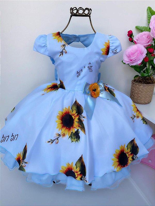 Vestido Infantil Tema Festa Jardim Girassol