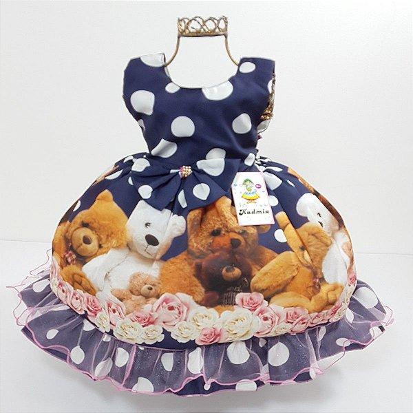 Vestido Infantil de Festa Ursinhos Azul Marinho