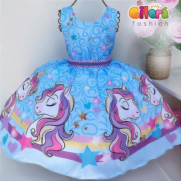 Vestido Infantil de Festa Unicórnio Azul