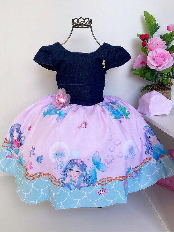 Vestido Infantil Jeans Sereia