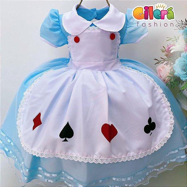 Vestido Infantil Luxo Alice no País das Maravilhas