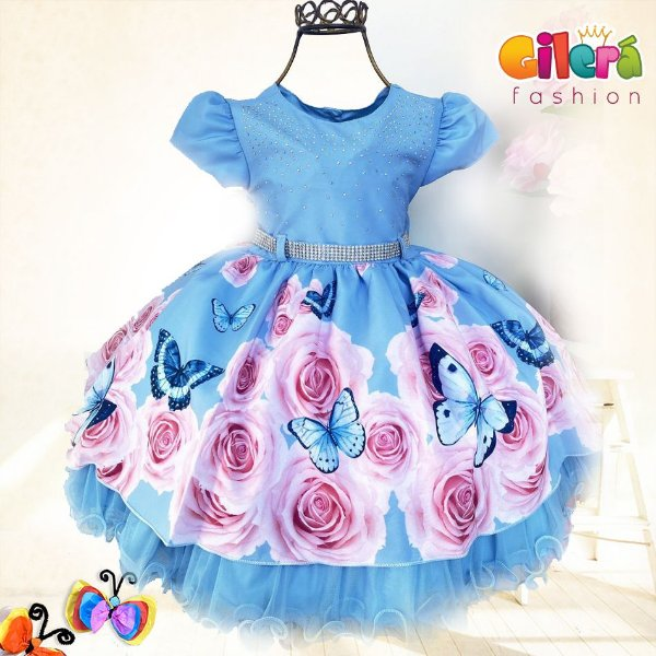 Vestido Infantil de Festa Luxo Azul Borboleta