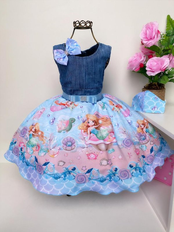 Vestido Infantil Jeans Regata Sereia