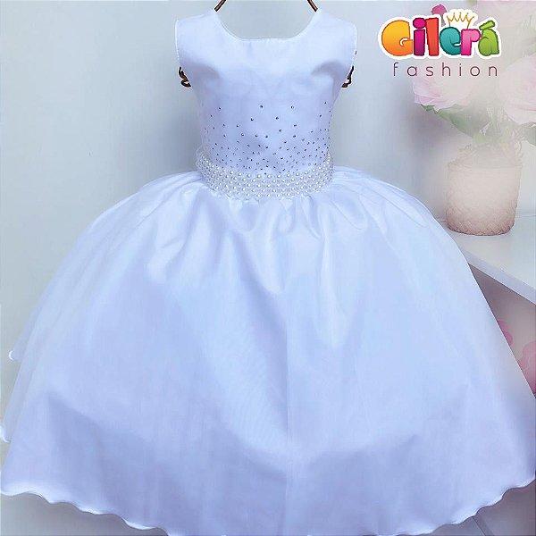 Vestido de Luxo Branco para Festas Daminhas Batizados Dama de Honra Casamento