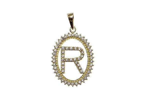 Pingente Letra R Ouro 18k com Zircônias - Retran Joias 8081135429