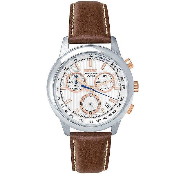 9f4365a2aca Relógio Seiko Masculino Prata Marrom Ssb211b1 - Retran Joias