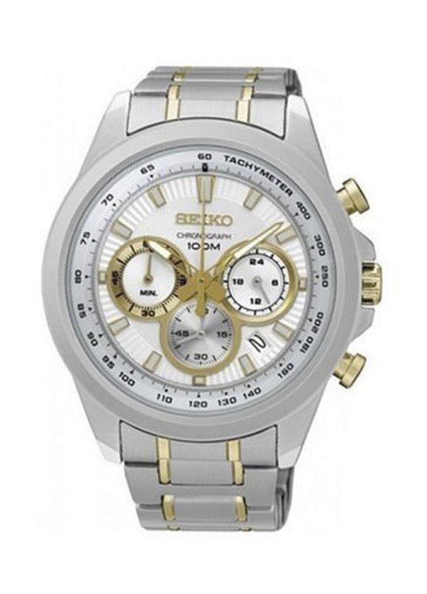 4a705eed66c Relógio Seiko Masculino Prata Dourado Ssb245b1 - Retran Joias