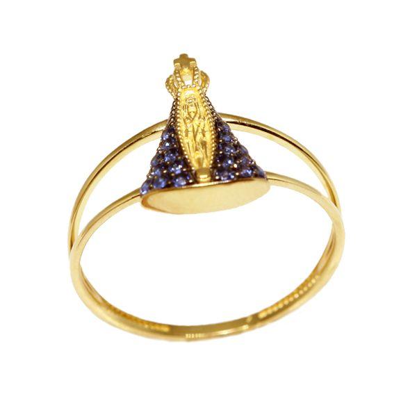 Anel Nossa Senhora Aparecida Ouro 18k Zircônias - cod.10122 - Retran ... 501f8859a5