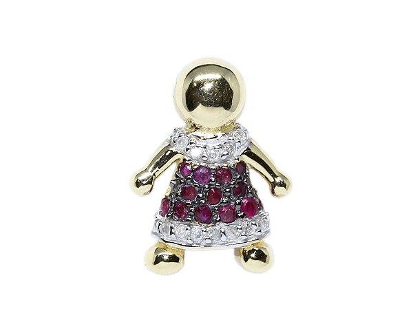 Pingente Menina Ouro 18k Diamantes e Rubis - Retran Joias cdf39f8306
