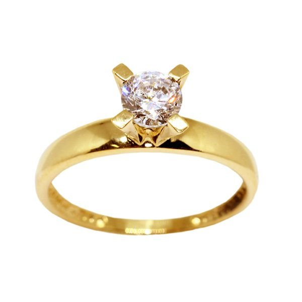 8c8eecfb47025 Anel Solitário Ouro 18k Com Pedra Zircônia 30 Pontos - cod.2175 ...
