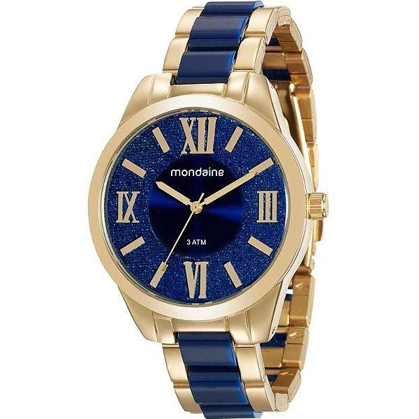 Relógio Mondaine Feminino Casual Dourado e Azul 76682lpmvde1 ... cfbd58540e