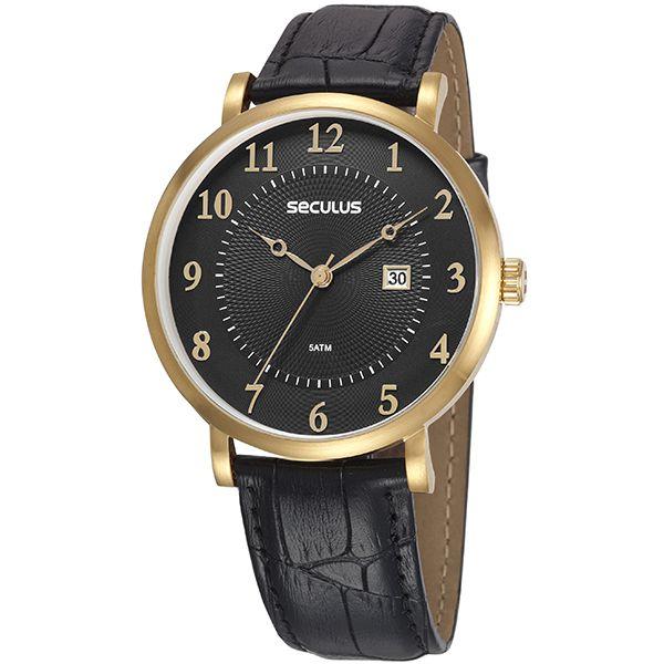 b3924b00e712f Relógio Seculus Masculino Dourado Preto 20627gpsvdc2 - Retran Joias
