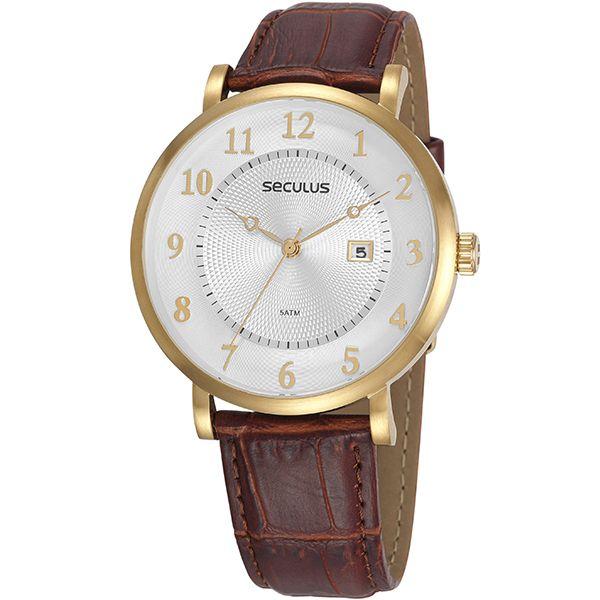 22c4e4db263 Relógio Seculus Masculino Dourado Marrom 20627gpsvdc1 - Retran Joias