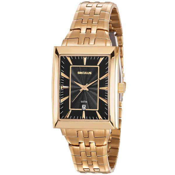 Relógio Seculus Masculino Dourado 20608gpsvda1 - Retran Joias b53de629b4