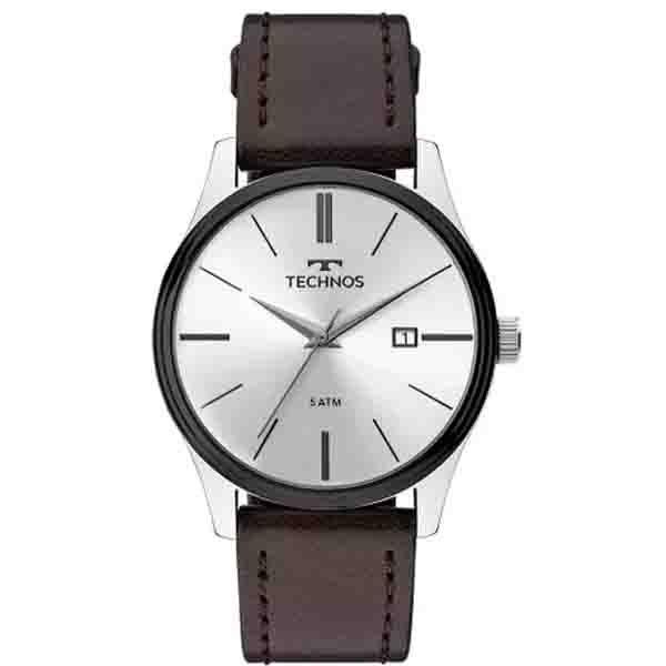 32a8aa83b4b Relógio Technos Masculino Prata com Couro 2115MPP 1K - Retran Joias