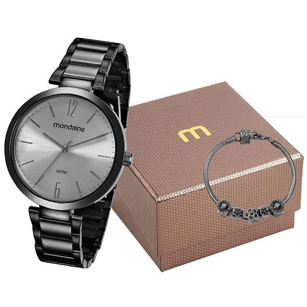 91d65bea45e Kit Relógio Mondaine Feminino Preto 53719lpmgpe4k1 - Retran Joias