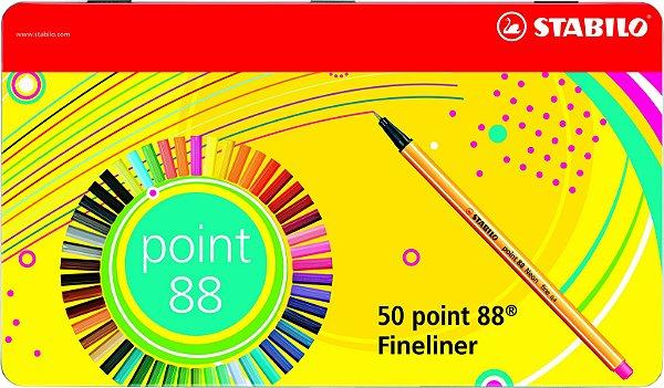 Caneta Stabilo Point 88 Estojo Lata C/50 Cores 8850-6