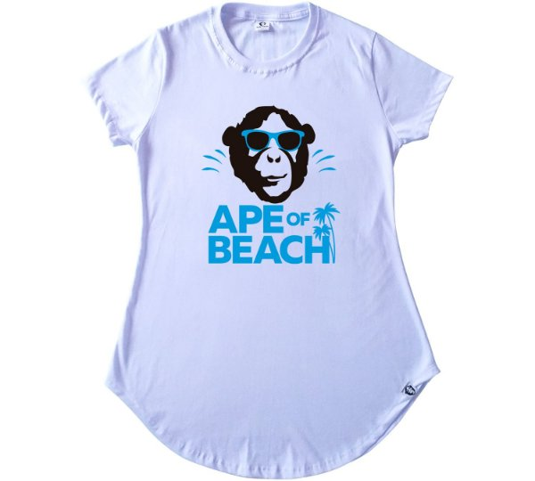 301. CAMISETA FEMININA BRANCA APE OF BEACH