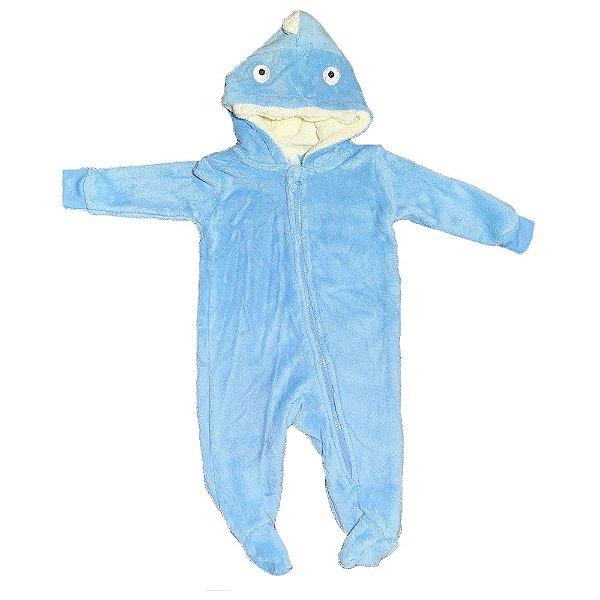 Pijama Macacao Infantil Bebe Fantasia Menino Tubarão 3-6 Meses Plush Microfibra
