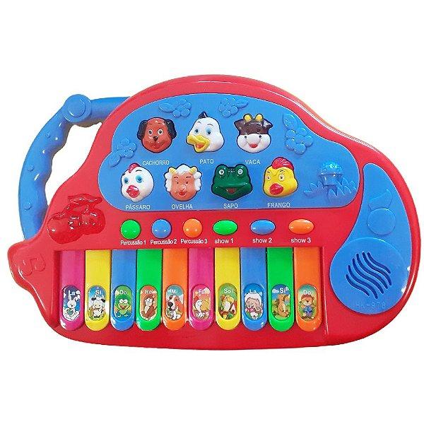 Teclado Musical  Animais Fazendinha  7 Sons Educativos Infantil Bebe