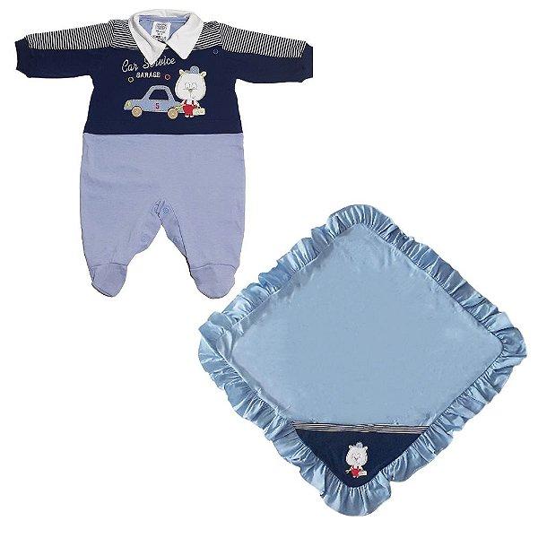 Kit Saída Maternidade 2 Peças Nene Feliz Azul Menino