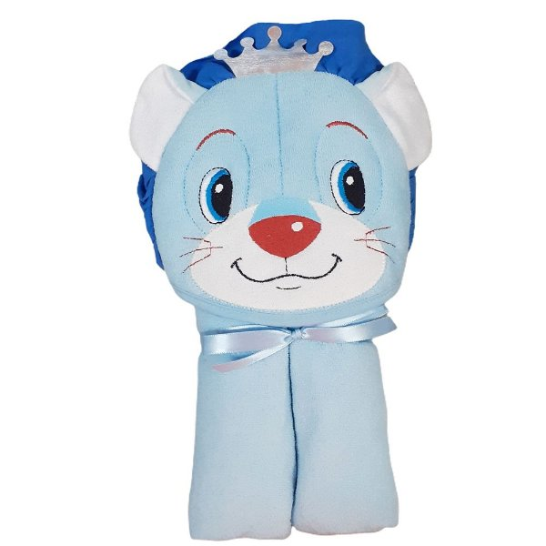 Toalha Banho Bebe Com Capuz Forro Fralda Leão Azul Menino
