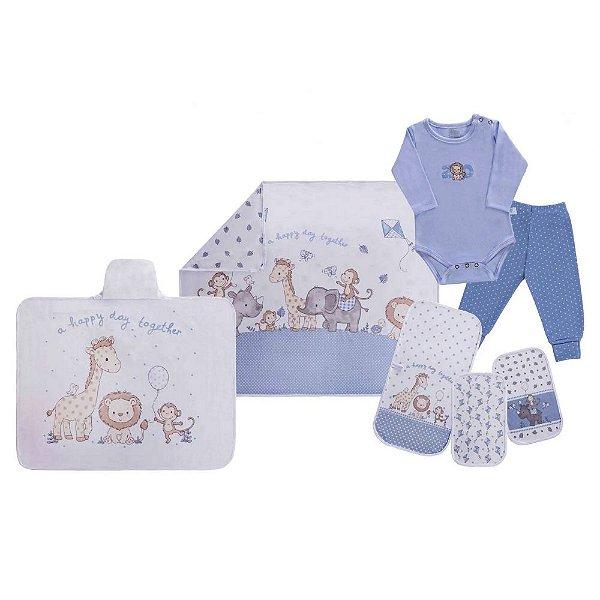Kit 7 Pç Maternidade Enxoval Completo Bebe Safari Azul Menino