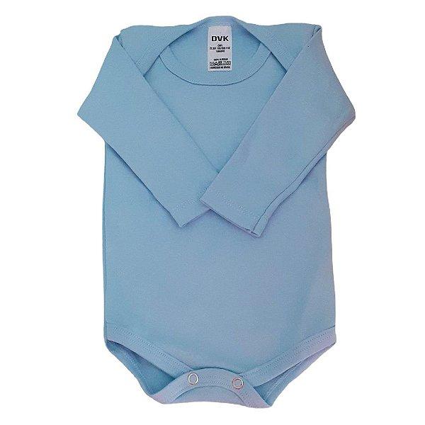 Body Bebe Manga Longa Suedine Azul Liso Algodão Basico