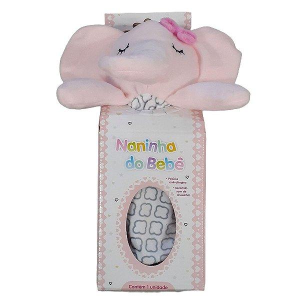 Naninha Bebe KitStar Elefante Rosa Com Chocalho