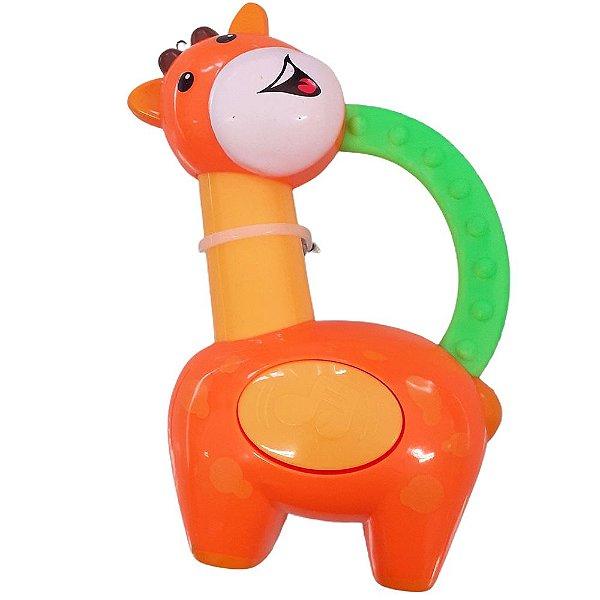Chocalho e Mordedor Brinquedo de Bebe Girafa Laranja +3 meses Diverte o Bebe