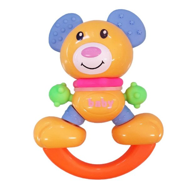 Chocalho e Mordedor Brinquedo de Bebe Urso +3 meses Diverte o Bebe