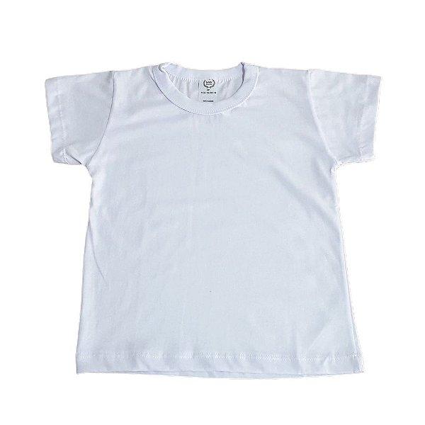 Camiseta Infantil Manga Curta 100% Algodão Branca Lisa 1 a 3 Anos