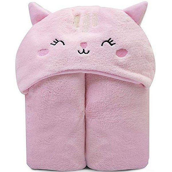 Cobertor Microfibra Mami Bichuus Com Capuz Papi Rosa