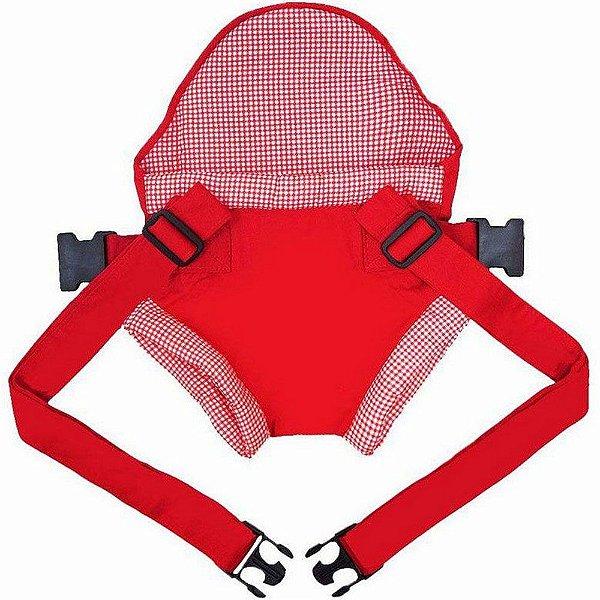 Canguru Carrega Bebe Click Bebê Passeio Vermelho Xadrez
