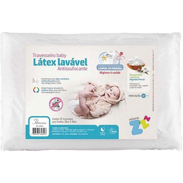 Travesseiro Para Bebe Látex Lavável Antissufocante Fibrasca Branco