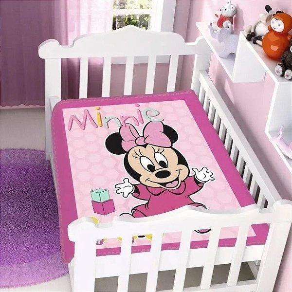 Cobertor infantil Jolitex Raschel Minnie Patinhos Rosa
