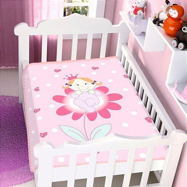 Cobertor infantil Jolitex Raschel Princesinha Na Flor Feminino