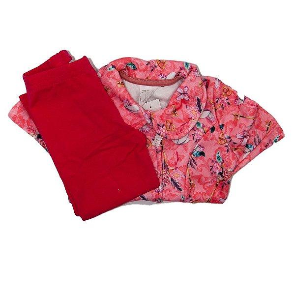 Conjunto Infantil Angero Flajo Rosa Borboletas Tam 2