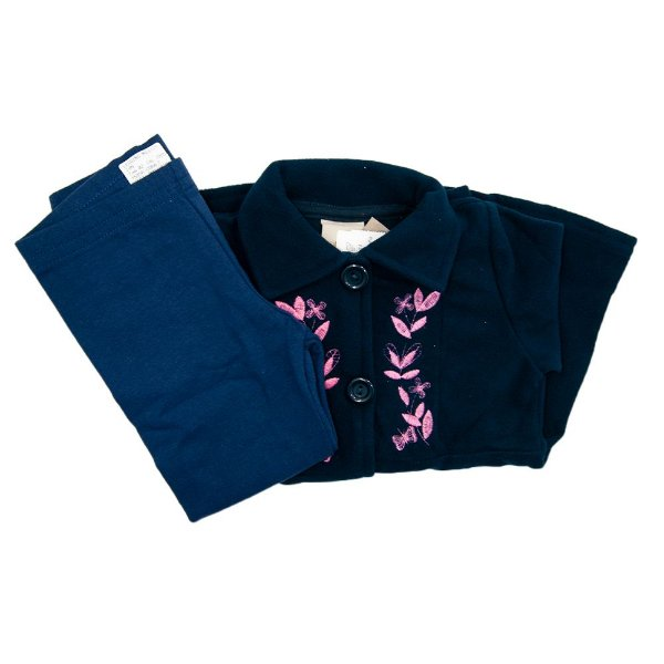 Conjunto Infantil Angero Flajo Azul Marinho Florido Feminino Tam 3