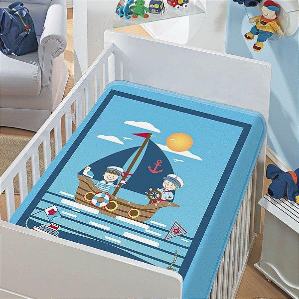 Cobertor Infantil Jolitex Tradicional Marinheiro Azul Masculino
