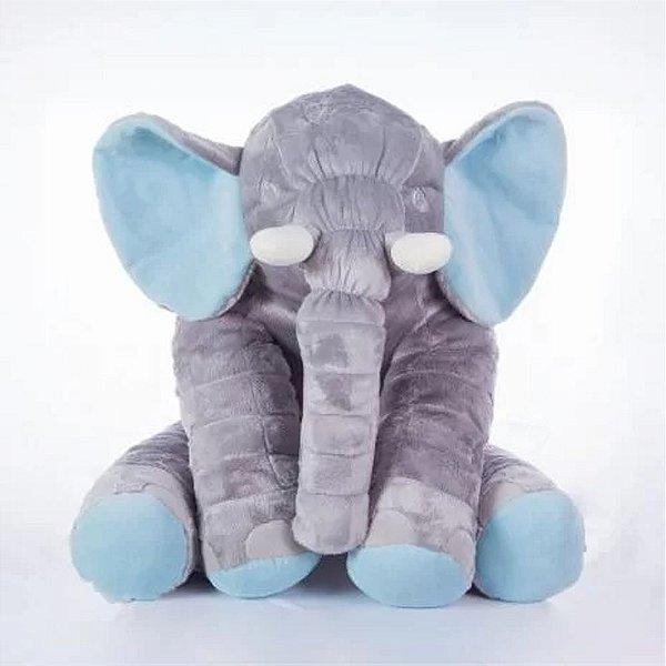 Bichos De Pelúcia WU Para Bebês Elefante Cinza e Azul