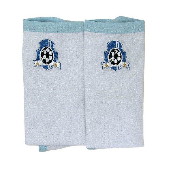 Pano De Boca Baby Deluxe Bordado 02 Peças Com Prendedor De Chupeta Futebol Azul