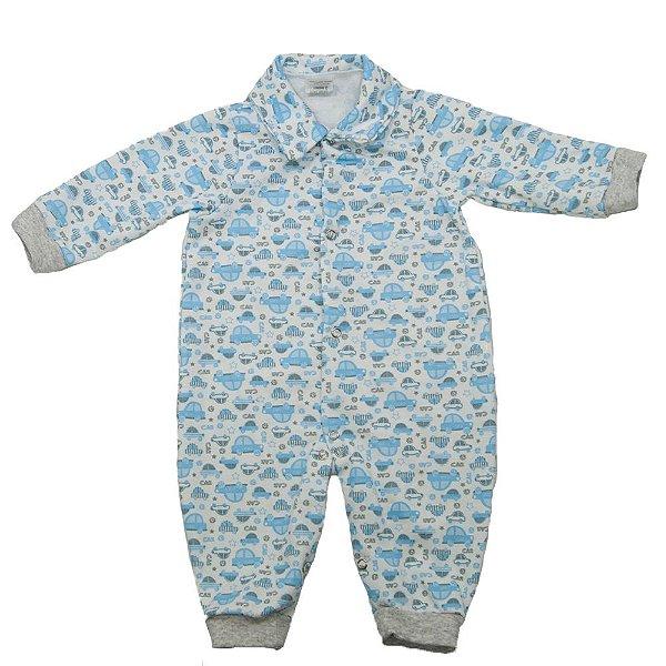 Macacão Moletinho Sem Pé Baby Deluxe Carro Azul Masculino