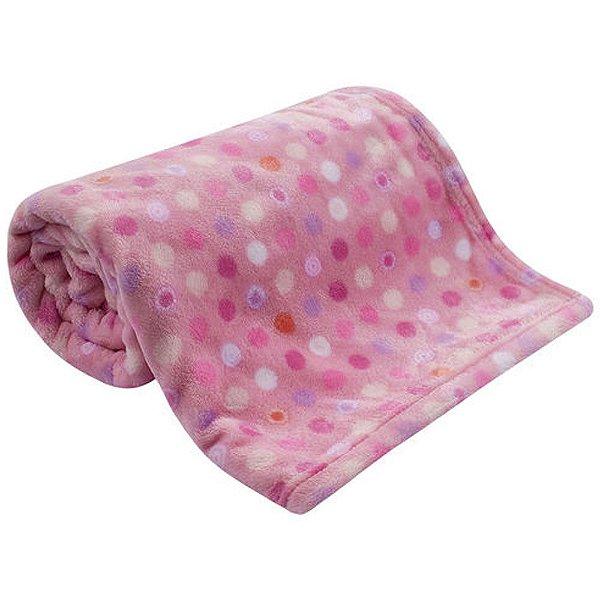 Cobertor Bebe Microfibra Flannel Camesa Rosa Poa
