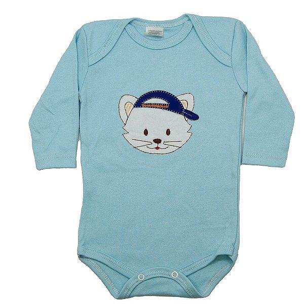 Body Manga Longa Baby Deluxe Azul Gatinho Bordado
