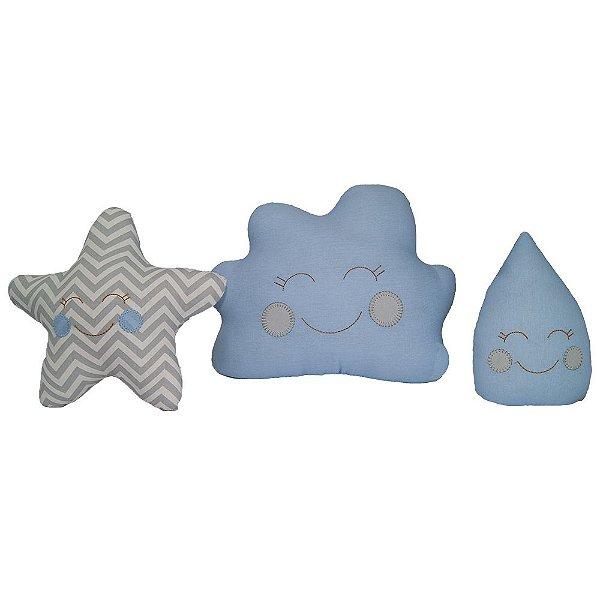 Almofada Decorativas Kit 3 CKD Nuvem Estrela e Gota Azul