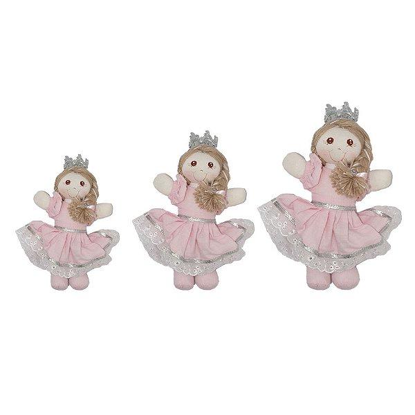 Boneca De Pano Kit 3 Princesa Rosa