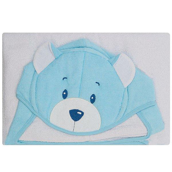 Toalha De Banho Kolola Forrada Com Capuz Urso Bordado Azul