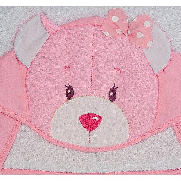 Toalha De Banho Kolola Forrada Com Capuz Urso Bordado Rosa