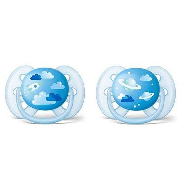 Kit 2 Chupeta Ultra Soft 6-18 Meses Tam 2 Espaço Azul Philips Avent